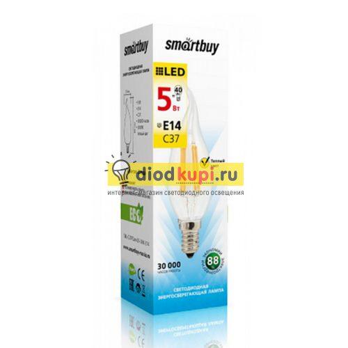 Светодиодная (LED)FIL Свеча на ветру Лампа Smartbuy-C37-05W/4000/E14