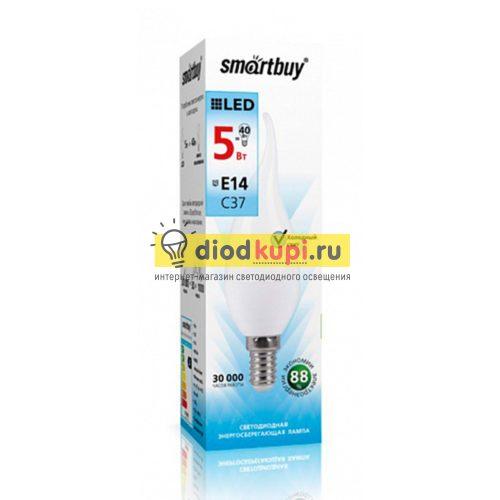 Светодиодная (LED) Свеча на ветру матовая Лампа Smartbuy-C37-05W/4000/E14